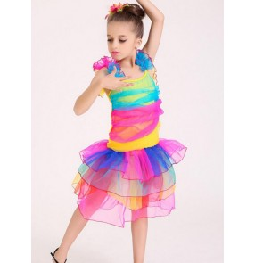 Rainbow colored sleeveless ruffles girls child children sleeveless modern dance princess party stage performance jazz dj ds singer dance costumes dresses