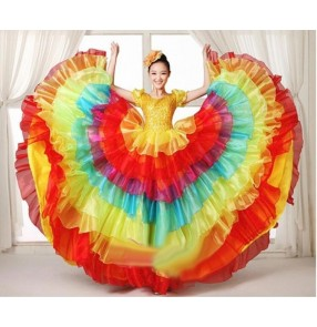 Rainbow colored women's ladies modern dance stage performance folk dance spanish bull dance costumes big swing skirts dance dresses