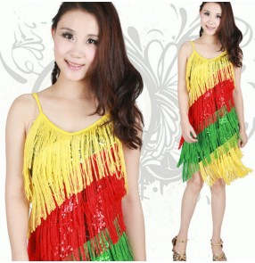 Rainbow colored yellow green red women's ladies female competition professional paillette  tassels strap sleeveless  latin samba salsa cha cha dance dresses