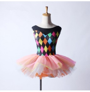 Rainbow plaid printed pink patchwork leotards tutu skirt girls kids children school competition performance ballet dance dresses outfits costumes