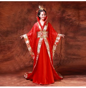 Red and gold Women's ladies girls Chinese folk dance traditional  ancient  classical princess stage performance costumes dynasty dresses