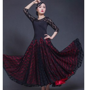 Red black lace patchwork middle long sleeves fashion women's ladies female competition performance professional ballroom tango waltz dance dresses costumes