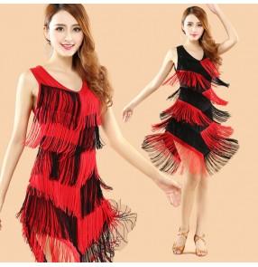 Red black patchwork colored women's ladies female fringes sleeveless gradient colored v neck tassels latin samba salsa cha cha dance dresses