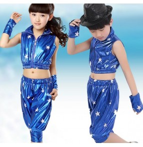 Red black royal blue girls kids child boys toddlers growth stage performance pu leather modern dance jazz hip hop street dance dj singer dance costumes clothes set