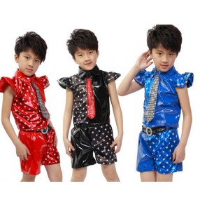 red black royal blue  star colored boys kids child children toddlers baby stage performance jazz dance modern dance hip hops costumes stage performance costumes dresses