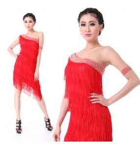 Red black turquoise royal blue rhinestones  women's ladies female one shoulder sleeveless latin samba salsa cha cha dance dresses
