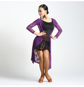 Red black violet Women's ladies female sexy fashion lace see through Long sleeves latin samba salsa cha cha rumba dance tops overcoat ( only lace coat)