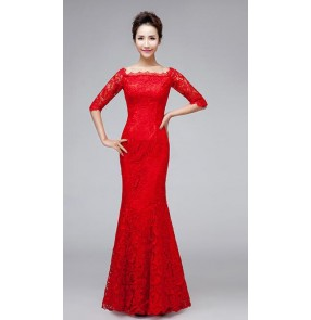 Red black Women's lace closure back half shoulder mermaid off shoulder round neck Evening dress wedding party bridals dress
