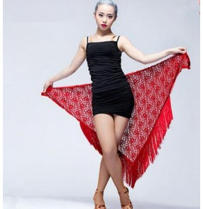 Red Black Women's ladies female lace tassels triangle  belly dance hip scarf sexy fashionable latin ballroom dance Samba salsa dance skirts ( only lace triangle scarf)