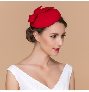 Red black Womens Dress Vintage Wool Pillbox Hat Party Wedding Bow Veil