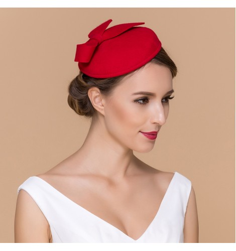 Red black Womens Dress Vintage Wool Pillbox Hat Party Wedding Bow Veil c319083c38d