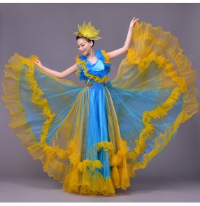 Red blue patchwork colorful dance costume Spanish bull dance dress expansion skirt costume stage costumes for singers national costume