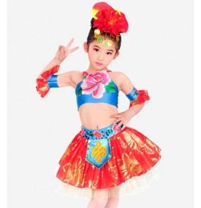 Red blue patchwork flower modern dance girls kids child children toddlers stage performance  cos play jazz dance modern dance costumes dresses