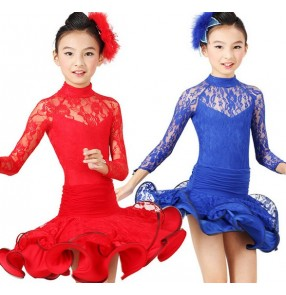 Red Blue Polyester Budsilk Long Sleeves Latin Dance Dress Ballroom Dance Dress Latin Girls