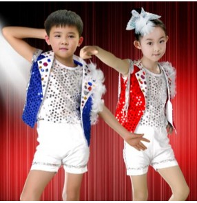 Red blue sequined paillette  short sleeves boys  girls kids child children toddlers kindergarten jazz dj ds dance costumes modern dance stage performance hip hop clothes