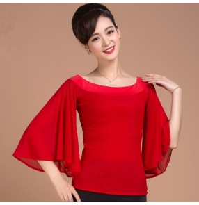 Red colored women's ladies female womens loose sleeves boat neck ballroom competition professional latin samba dance  tops only