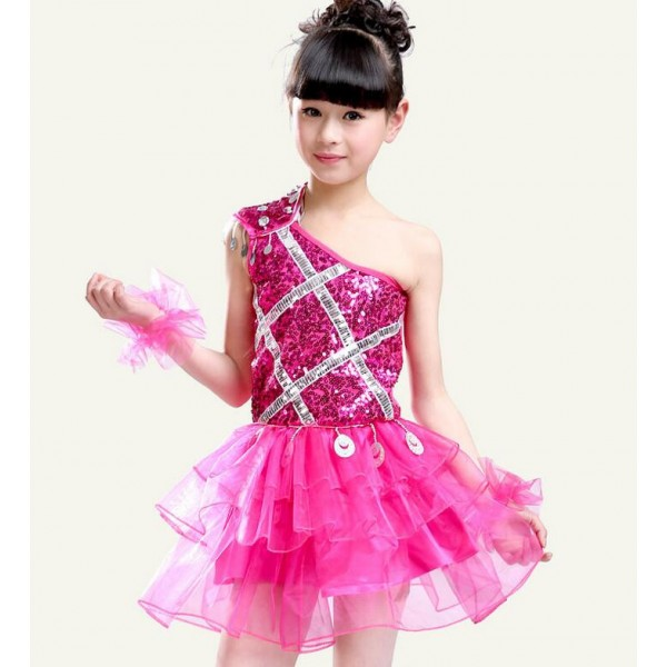 a4a5451cef5 Red fuchsia hot pink royal blue colored girls kids child children  kindergartens toddlers paillette sequined one shoulder sleeveless stage  performance modern ...