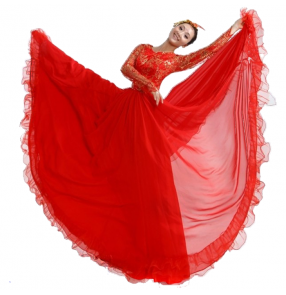 Red gold lace tops long sleeves patchwork flamenco spanish folk bull dancing big wide skirted women's stage performance dance dresses outfits costumes