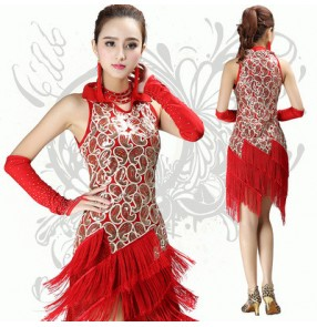 Red gold paillette colored women's ladies female competition exercises tassels latin samba salsa cha cha dance dresses set  with gloves and  rhinestones neck accessory  fringe earrings