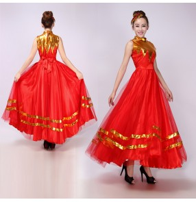 Red gold patchwork womens ladies female  long length flamenco opening dancing modern dance chorus spanish bull dance stage performance dance dresses