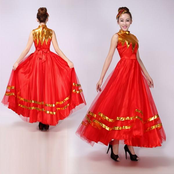37aa10d6f07b Red gold patchwork womens ladies female long length flamenco opening dancing  modern dance chorus spanish bull dance stage performance dance dresses