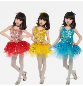 Red gold yellow turquoise blue sleeveless strap girls kids child children toddler growth baby toddlers practice stage performance modern dance jazz dance dj ds dance costumes dresses