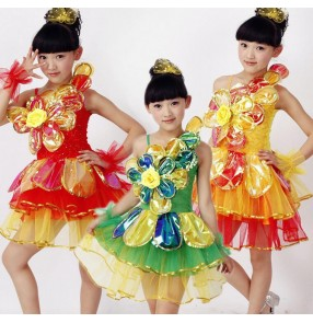 Red green flower paillette colored sleeveless strap girls kids child children toddlers gymnastics practice latin stage performance modern dance costumes dresses