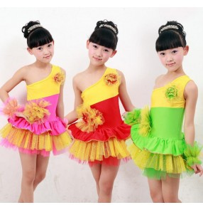 Red green fuchsia rainbow colored girls kids child chilren toddlers competition one shoulder sleeveless gymnastics practice skirts latin dance dress costumes