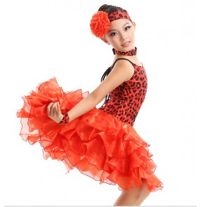 Red leopard Fringe Shiny Paillette Girl Latin Dance Dress Salsa Dresses