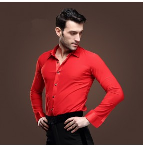 Red Male Latin male adult Latin ballroom dance shirts