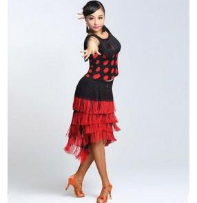Red polka dot white polka dot sleeveless women ladies female competition professional tassels latin samba salsa cha cha dance dress split set top and tassels skirts