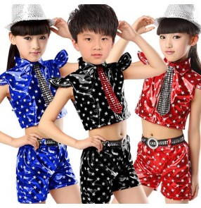 Red royal blue black star printed pu leather girls boys toddlers child children kids stage performance modern dance jazz ds dj singer hip hop dance costumes clothes