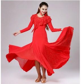 Red royal blue green long length ballroom dance dress