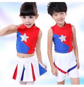 Red royal blue white patchwork colored girls kids child children toddlers gymnastics practice exercises cheerleading  stage performance dance costumes split set