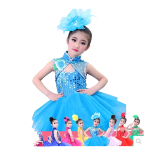 Red royal blue yellow green fuchsia white sky blue paillette Girls child children kids baby modern stageperformance jazz dance costumes latin dance dresses