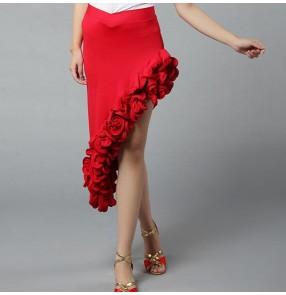 Red ruffles irregular inclined skirt hem womens women's ladies female competition professional latin salsa cha cha dance skirts