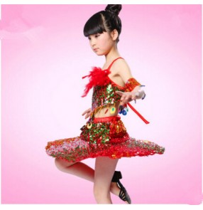 Red sequined backless Girls child kids child baby modern stage performance jazz dance costumes latin dance dresses