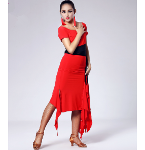 Red Splicing Latin dance skirt