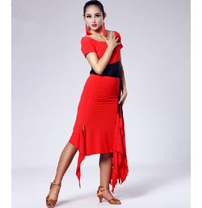 Red Splicing Latin dance skirt