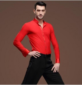 Red stand collar long sleeves spandex competition men's man male stage performance latin ballroom tango jive waltz dance shirts tops