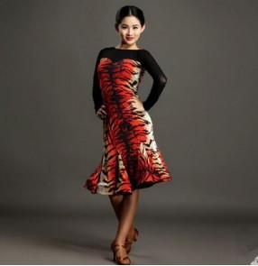 Red tiger printed brown leopard patchwork long sleeves women's  ladies womens female backless sexy fashion latin samba salsa cha cha dance dresses