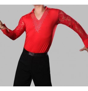 Red v neck stand collar rhinestones long lace sleeves competition male men's boys kids children performance latin salsa ballroom tango waltz flamenco dance tops leotard shirts