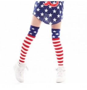 Red white blue star striped stripy knee thigh high length women's ladies girls female stage performance hip hop jazz dance long length socks