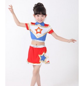 Red white patchwork girls boys kids child children baby toddlers growth cheerleading  modern dance cos play hip hop street dance sports dance gymnastics practice dance costumes