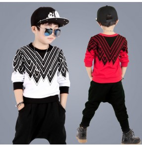 Red white plaid printed cotton sweater tops harem pants boys kids children school performance hip hop street dancing cos play jazz dance outfits costumes