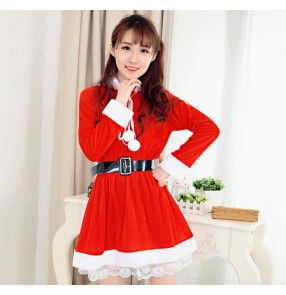 Red with white patchwork velvet long sleeves girls women's stage performance Halloween Christmas party performance cos play mrs Santa hoodies outfits dresses