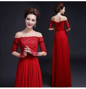 Red Women's lady beaded lace red A-ling long length Dew shoulder short sleeves evening dress wedding party bridal dress