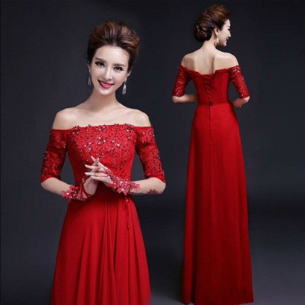 Red Women\'s lady beaded lace red A-ling long length Dew shoulder ...