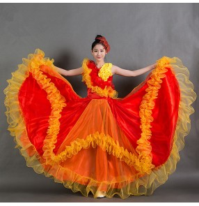 Red yellow fuchsia hot pink yellow gold patchwork flowers women's ladies female opening dance stage performance Spanish flamenco bull dance folk modern dancing dresses outfits