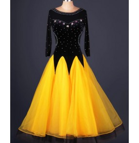 Rhinestones black  and  neon yellow patchwork long sleeves round neck women's ladies female competition professional ballroom tango waltz tango dance dancing dresses